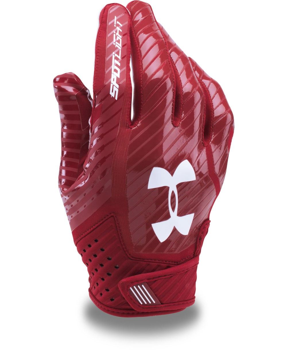 26e9e8929ae85 Under Armour Spotlight Men's American Football Gloves Cardinal