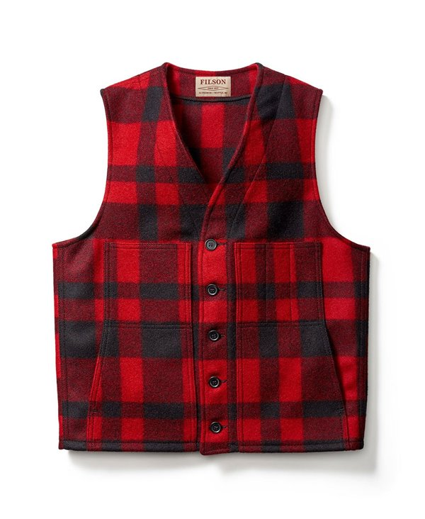 Herren Wolle Westen Mackinaw Red/Black