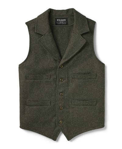 Western Gilet de Laine Homme Forest Green