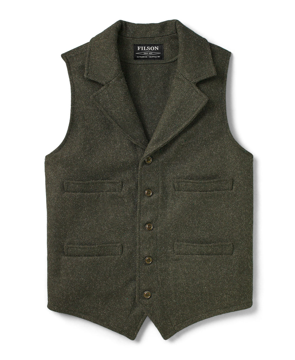 Western Gilet Uomo in Lana Forest Green