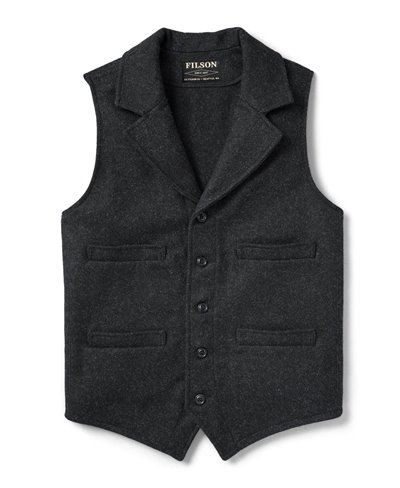 Western Gilet Uomo in Lana Charcoal