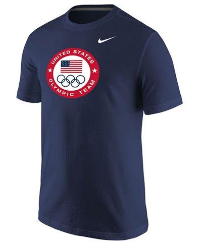 Team USA Olympic Logo Flag & Rings T-Shirt Uomo