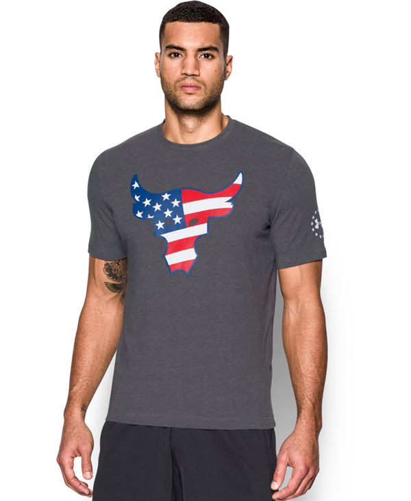 Freedom Rock The Troops Camiseta Manga Corta para Hombre Carbon Heather
