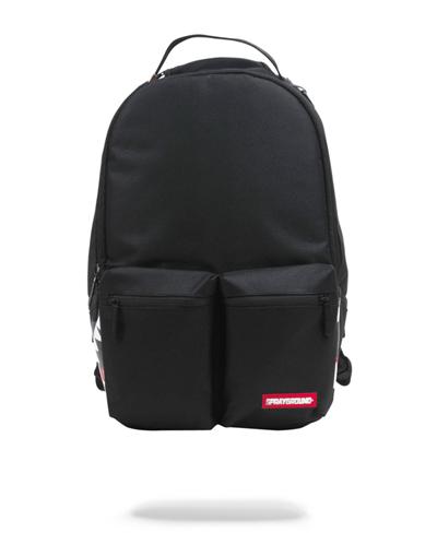 Double Cargo Side Shark Backpack Black