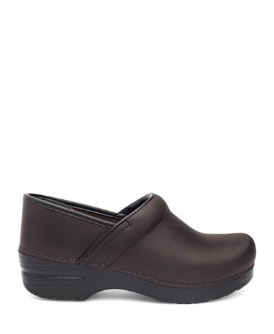 Damen Professional Oiled Leather Leder Clogs Antique Brown/Black