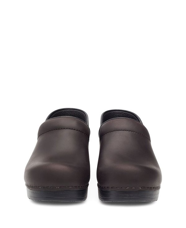 Professional Oiled Leather Zoccoli in Pelle Donna Antique Brown/Black