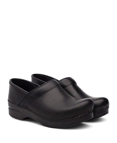 Professional Leather Zuecos de Piel para Mujer Black Cabrio