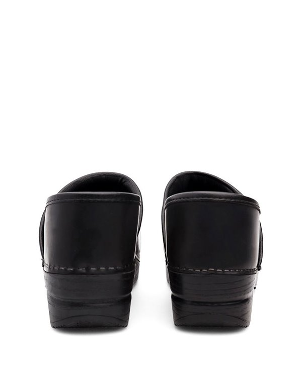 Professional Leather Sabots Femme Black Cabrio