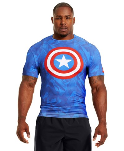 Alter Ego Men's Short Sleeve Compression Shirt Captain America Royal