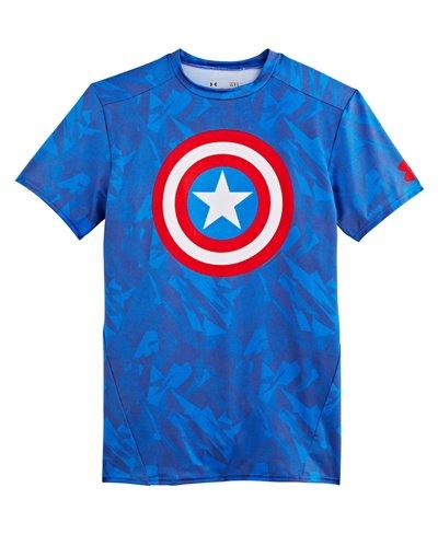 Alter Ego Men's Short Sleeve Compression Shirt Captain America Royal