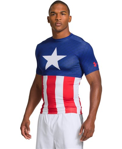 Alter Ego Men's Short Sleeve Compression Shirt Captain America