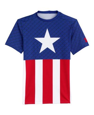 Alter Ego Men's Short Sleeve Compression Shirt Captain America