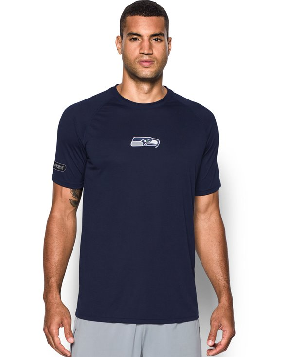 Men's Short Sleeve T-Shirt NFL Combine Authentic Tech Logo Seattle Seahawks