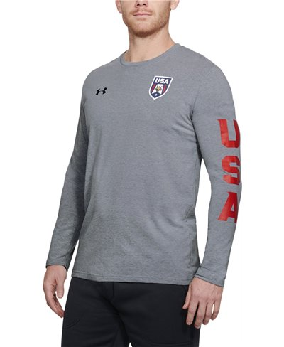 Men's Long Sleeve T-Shirt USA Patriot Steel Light Heather