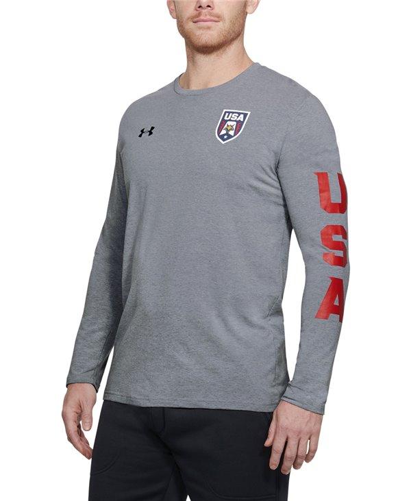 Herren Langarm T-Shirt USA Patriot Steel Light Heather