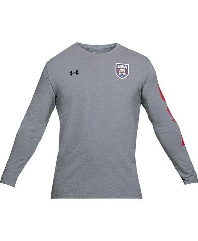 USA Patriot Camiseta Manga Larga para Hombre Steel Light Heather