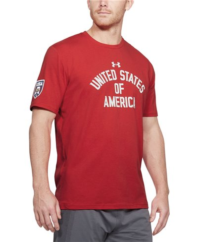 Men's Short Sleeve T-Shirt Stars & Stripes Verbiage Red