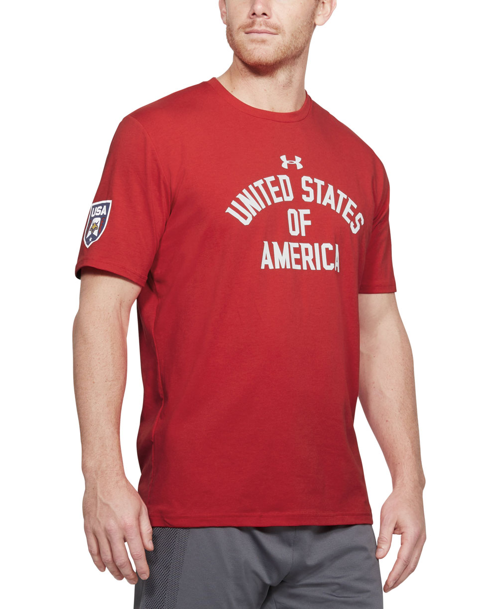 Stars & Stripes Verbiage Camiseta Manga Corta para Hombre Red