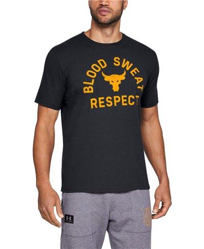 Men's Short Sleeve T-Shirt Project Rock Blood Sweat Respect Black