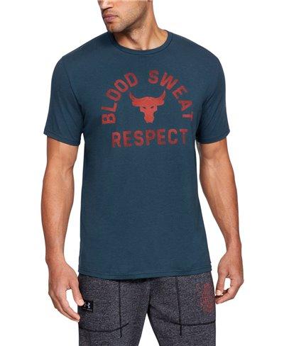 Herren Kurzarm T-Shirt Project Rock Blood Sweat Respect True Ink
