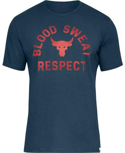 Men's Short Sleeve T-Shirt Project Rock Blood Sweat Respect True Ink