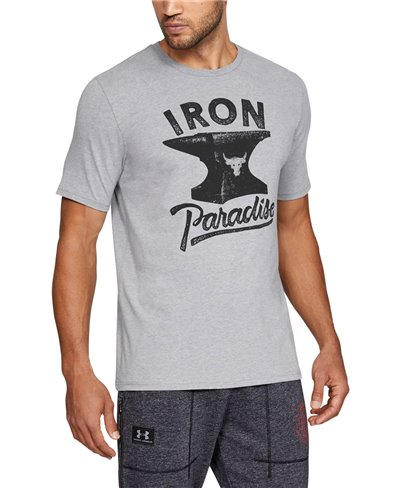 Men's Short Sleeve T-Shirt Project Rock Iron Paradise Steel Light Heather