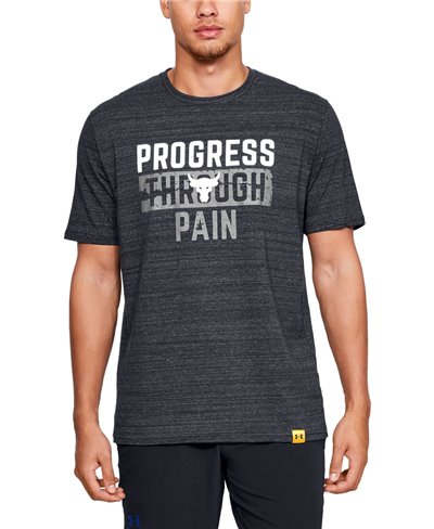 Herren Kurzarm T-Shirt Project Rock Progress Through Pain Black