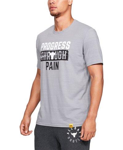 Herren Kurzarm T-Shirt Project Rock Progress Through Pain Steel Light Heather
