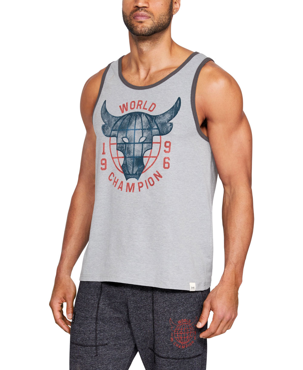 75666689e Project Rock 96 World Champion Camiseta sin Mangas para Hombre Steel Light  Heather