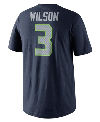 Men's Short Sleeve T-Shirt Player Pride Name and Number NFL Seahawks / Russell Wilson