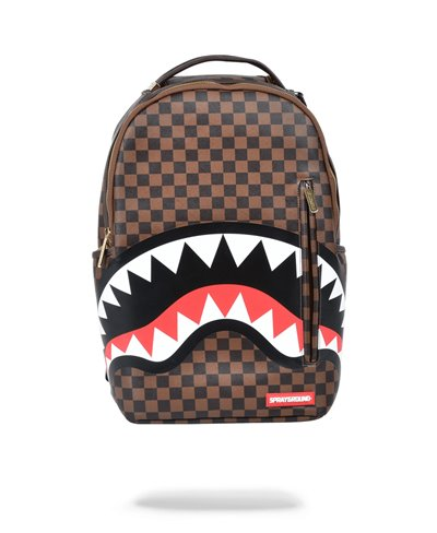 Shark in Paris Gold Zipper Rucksack Brown