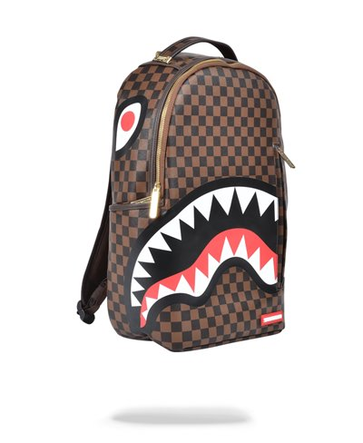 Shark in Paris Gold Zipper Backpack Brown