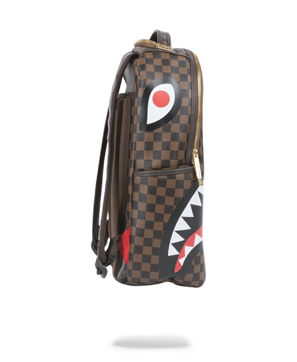 Zaino Shark in Paris Gold Zipper Brown