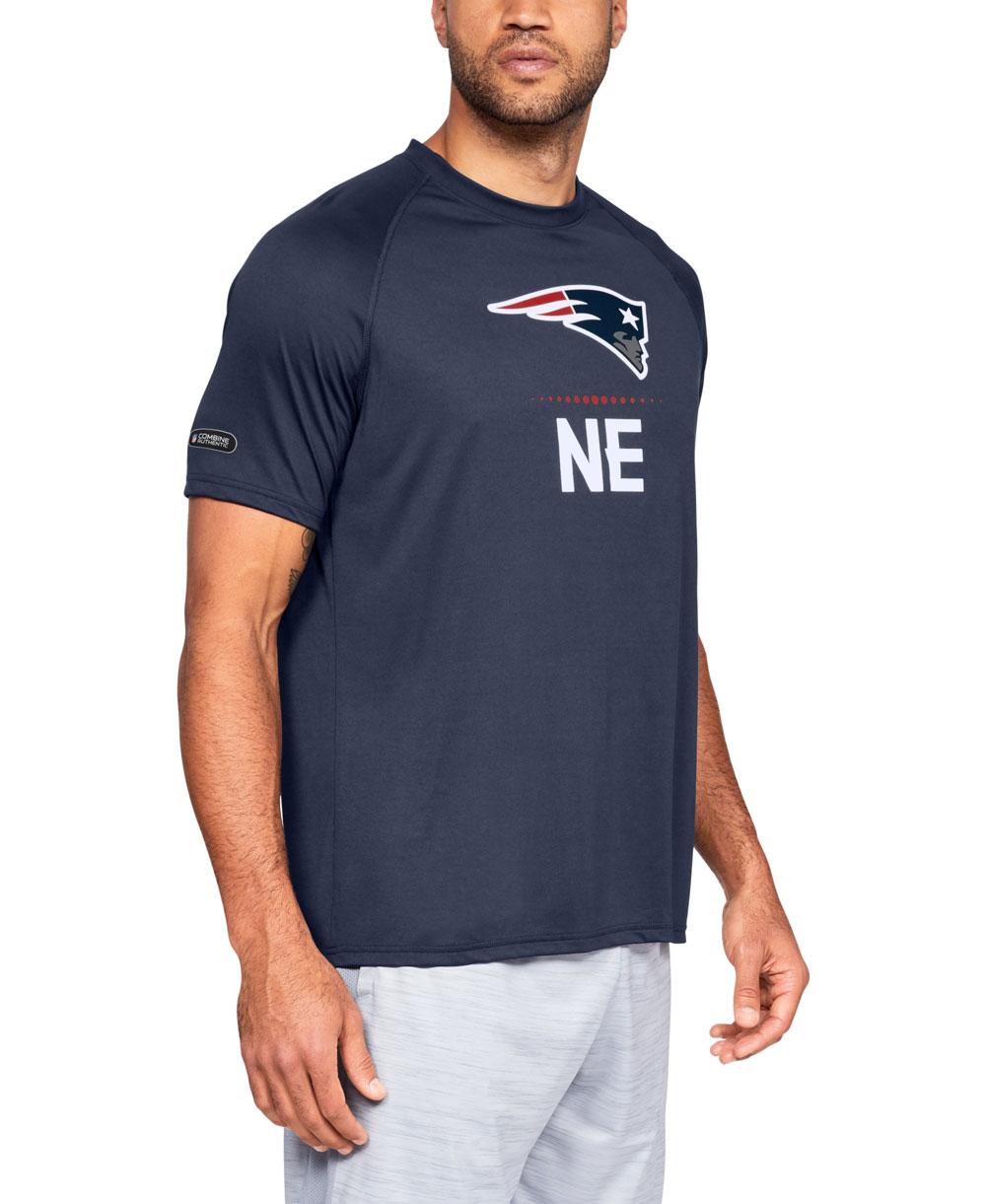 482035652 Men s Short Sleeve T-Shirt NFL Combine Authentic UA Tech Lockup New England  Patriots