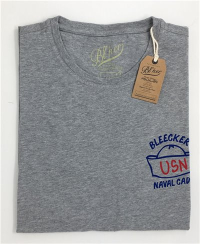 Men's Short Sleeve T-Shirt Navy Hat Grey Melange