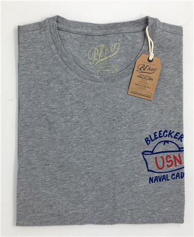 Navy Hat T-Shirt Manica Corta Uomo Grey Melange