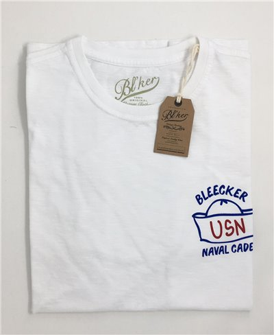 Men's Short Sleeve T-Shirt Navy Hat White