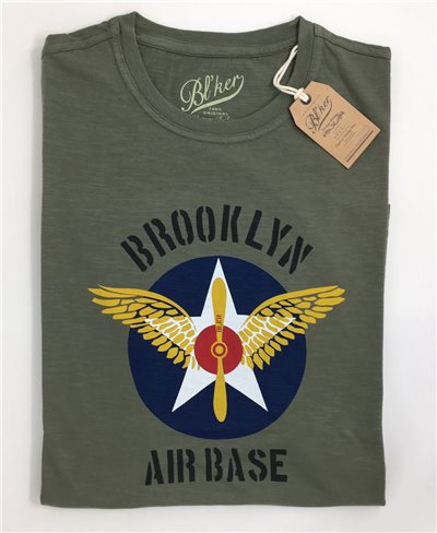 BRKL Air Base Camiseta Manga Corta para Hombre Military Green