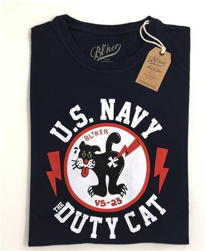 Herren Kurzarm T-Shirt Duty Cat Navy