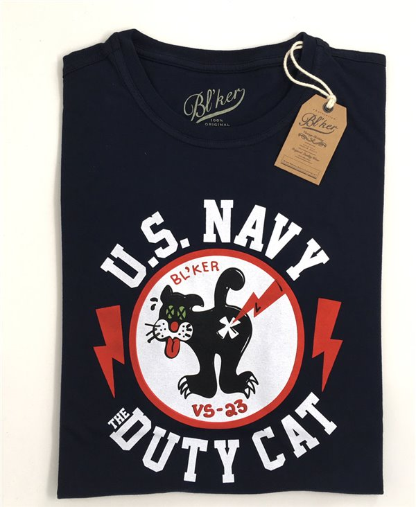Duty Cat Camiseta Manga Corta para Hombre Navy