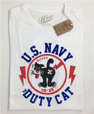 Duty Cat T-Shirt Manica Corta Uomo White