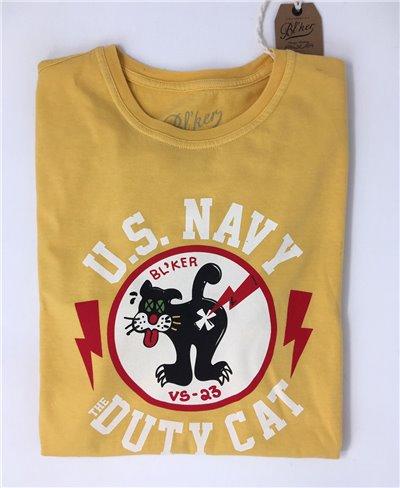 Duty Cat Camiseta Manga Corta para Hombre Yellow