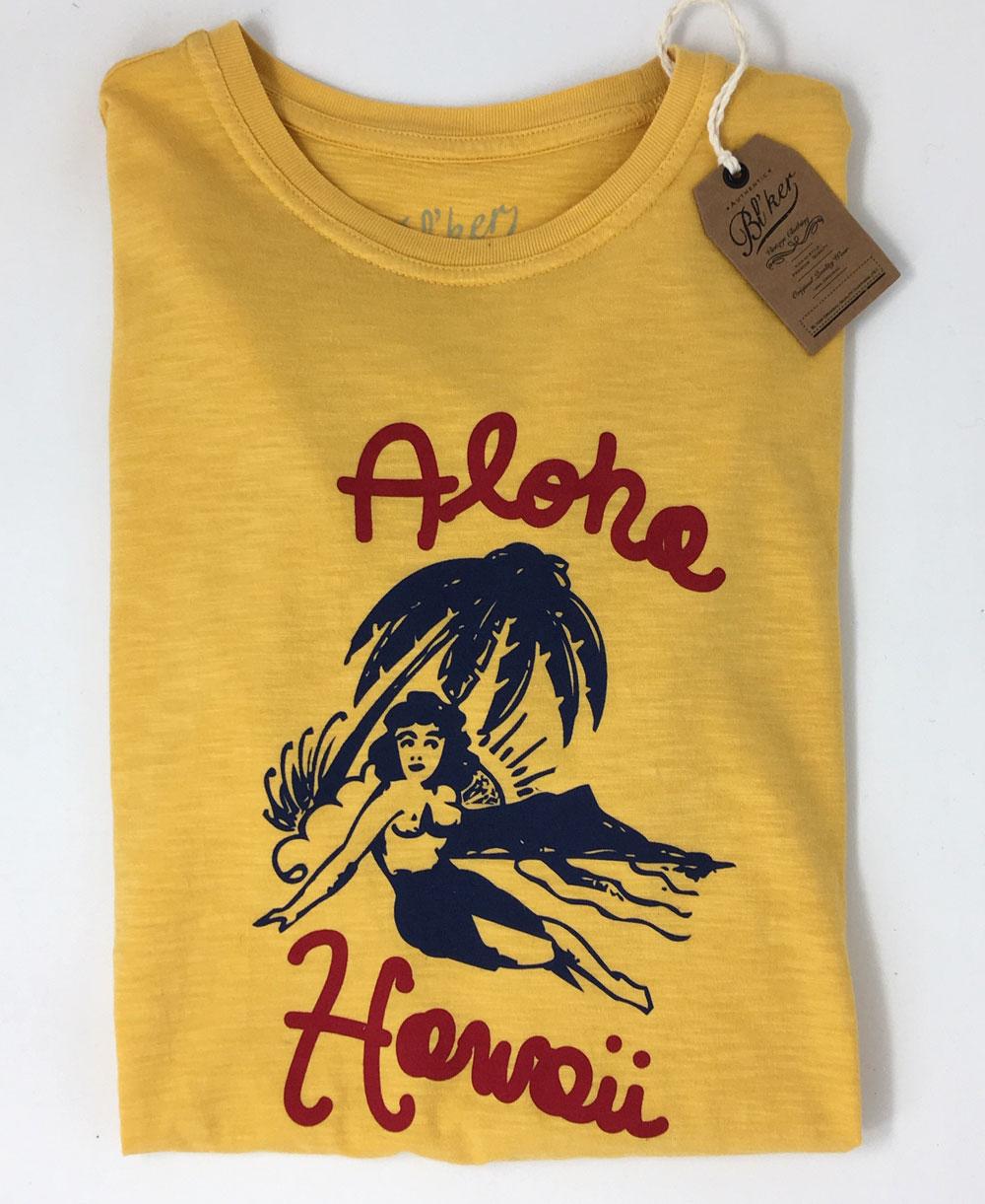 Herren Kurzarm T-Shirt Aloha Hawaii Yellow