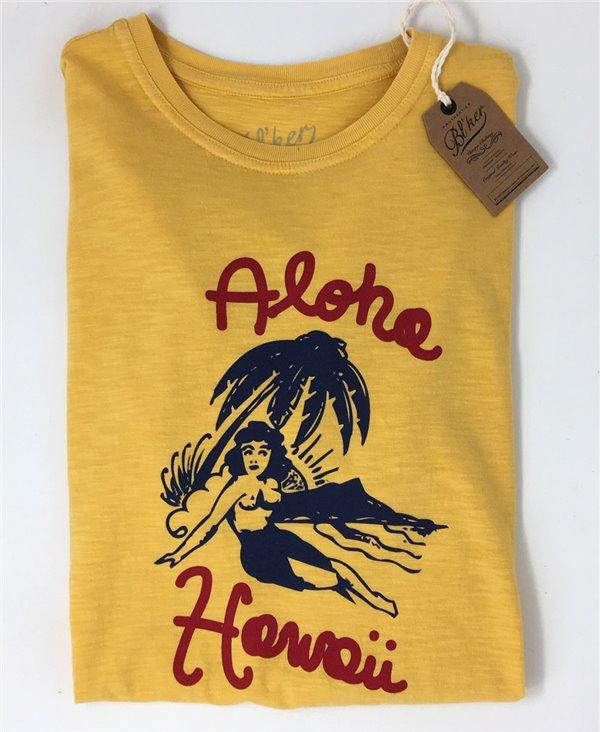 Aloha Hawaii Camiseta Manga Corta para Hombre Yellow