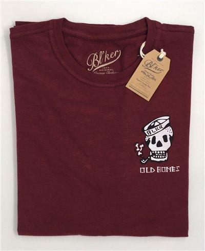 Old Bones T-Shirt Manica Corta Uomo Burgundy