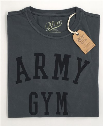 Men's Short Sleeve T-Shirt Army Gym Faded Black