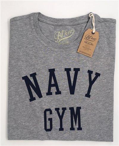 Men's Short Sleeve T-Shirt Navy Gym Grey Melange