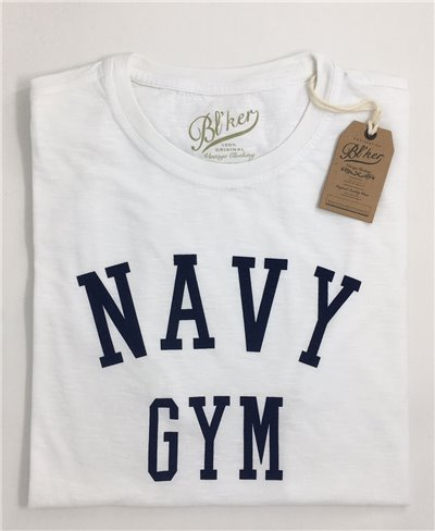 Men's Short Sleeve T-Shirt Navy Gym White