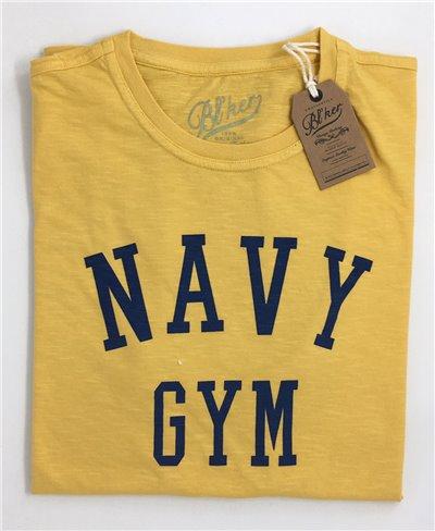 Herren Kurzarm T-Shirt Navy Gym Yellow