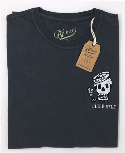 Herren Kurzarm T-Shirt Old Bones Faded Black